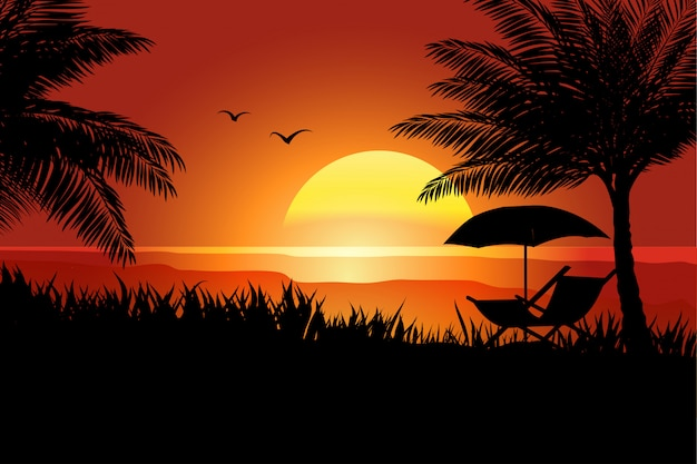 Sommer im sonnenuntergang mit palme Premium Vektoren