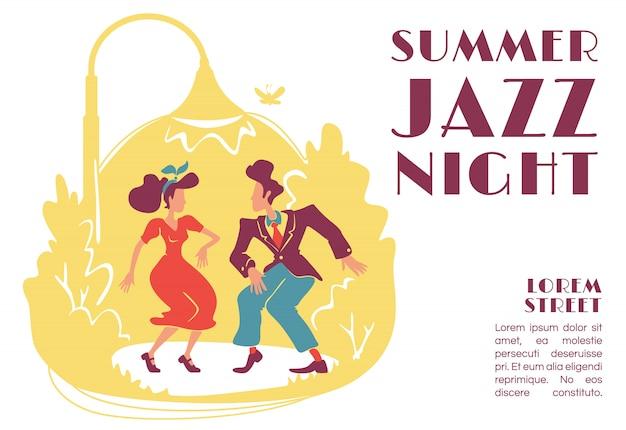 Sommer jazz nacht banner vorlage. outdoor-party im retro-stil. 50er jahre rock'n'roll disco. broschüre, plakatkonzeptdesign mit zeichentrickfiguren. horizontaler flyer, faltblatt mit platz für text Premium Vektoren