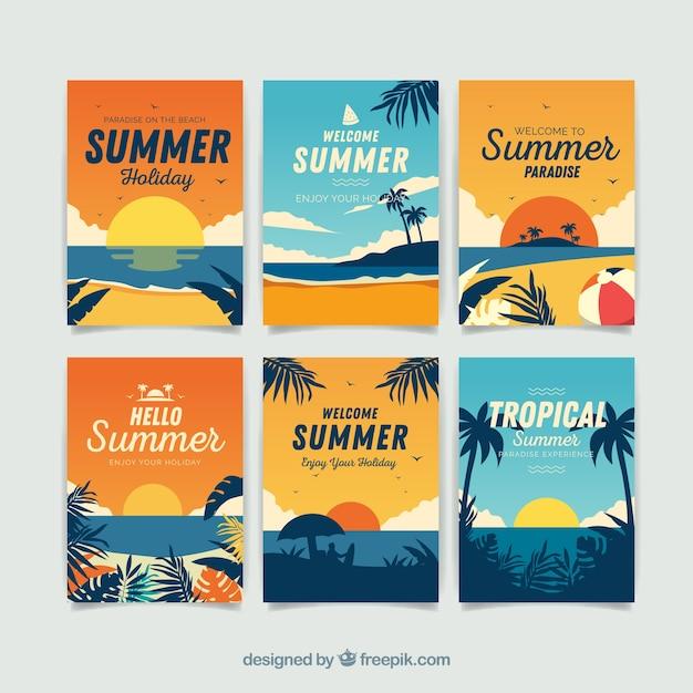 Sommer karten sammlung mit strandelementen Kostenlosen Vektoren