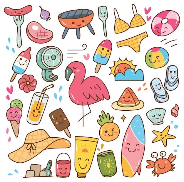 Sommer kawaii doodle-set Premium Vektoren