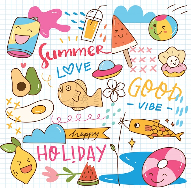 Sommer kawaii gekritzel Premium Vektoren