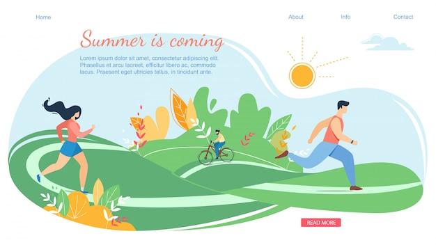 Sommer-kommende horizontale fahnen-szene mit aktivem familienurlaub Premium Vektoren