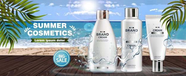 Sommer kosmetik hintergrund Premium Vektoren