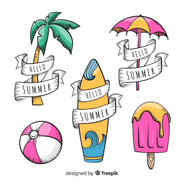 Sommer-label-kollektion Kostenlosen Vektoren