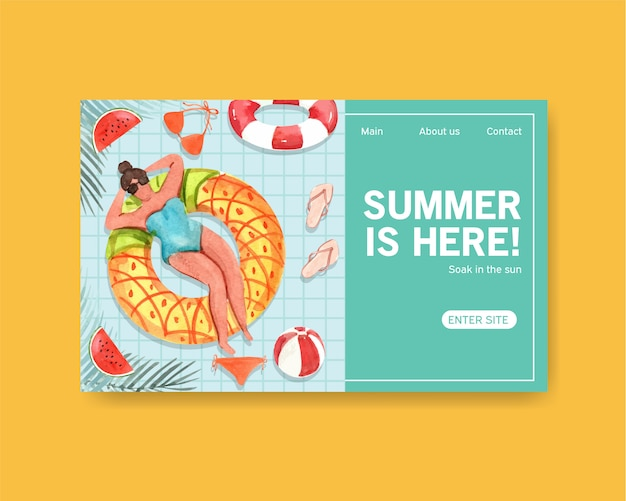 Sommer landing page vorlage Kostenlosen Vektoren