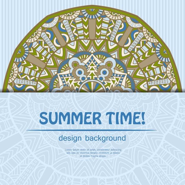 Sommer-mandala-design. ethnischer hintergrund. Premium Vektoren