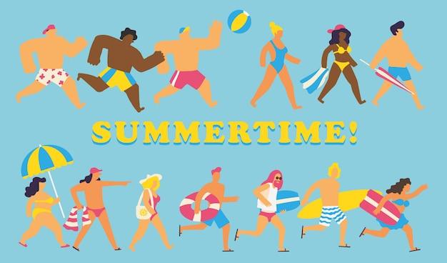 Sommer menschen festgelegt Premium Vektoren