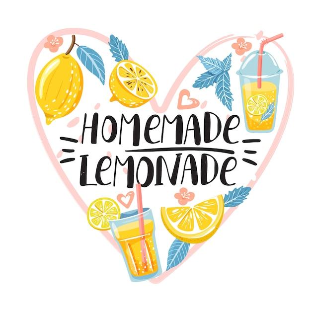 Sommer mit zitrone und limonade gesetzt. Premium Vektoren