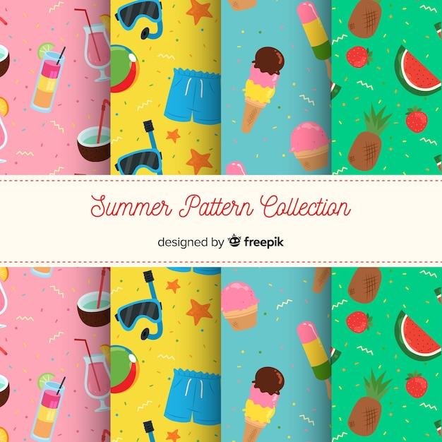 Sommer-muster-kollektion Kostenlosen Vektoren