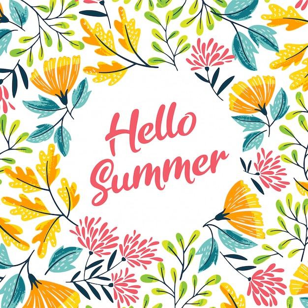 Sommer-netter blumenrahmen Premium Vektoren