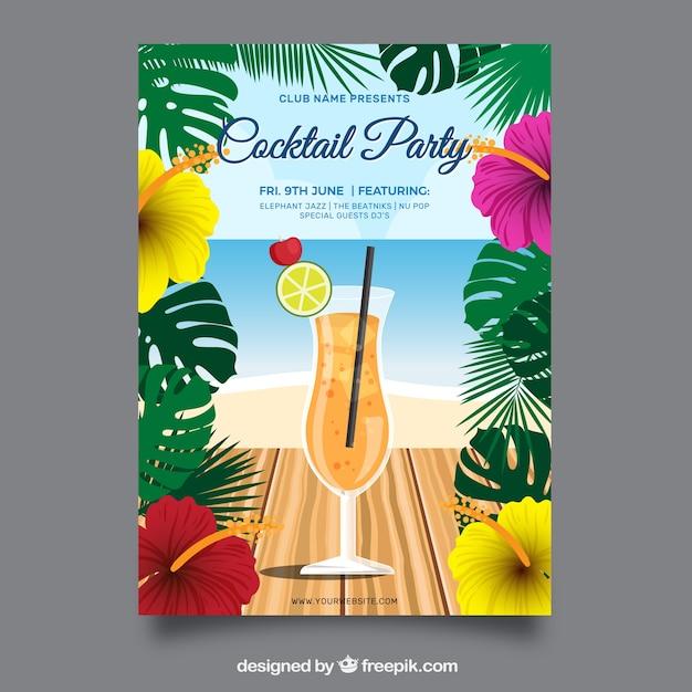 Sommer-party-broschüre mit cocktail Kostenlosen Vektoren