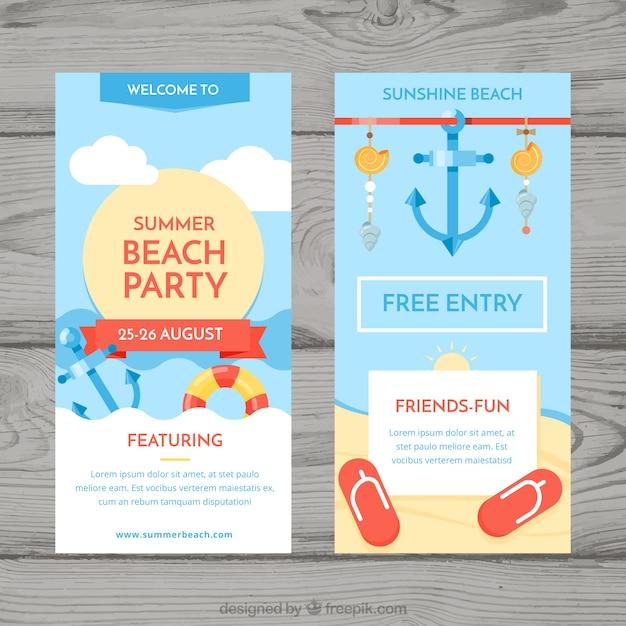 Sommer party flyer mit strandelementen Kostenlosen Vektoren