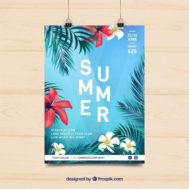 Sommer party flyer mit tropischen pflanzen Kostenlosen Vektoren