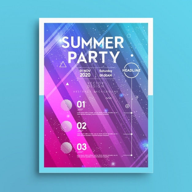 Sommer-party-plakat Kostenlosen Vektoren