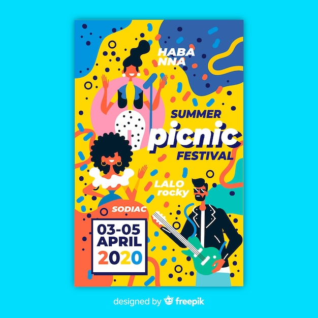 Sommer picknick festival party poster oder flyer vorlage Kostenlosen Vektoren