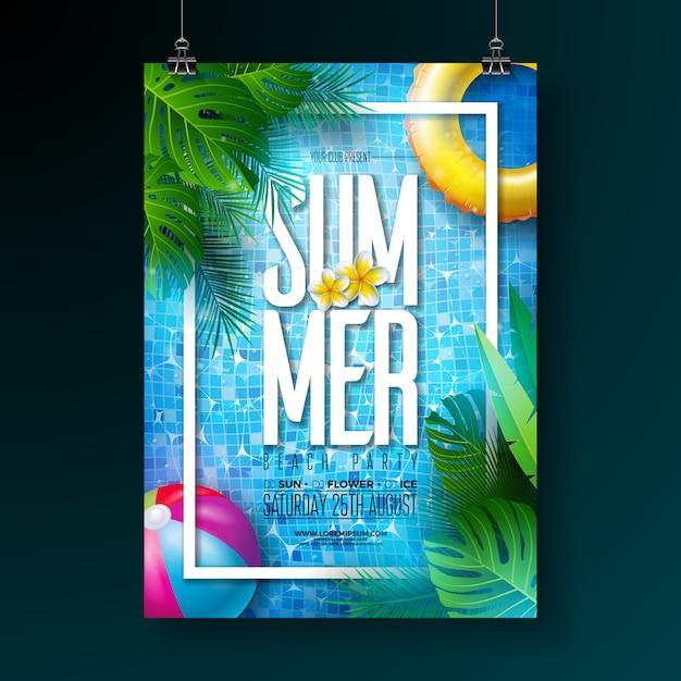 Sommer pool party plakat entwurfsvorlage mit poolwasser Premium Vektoren