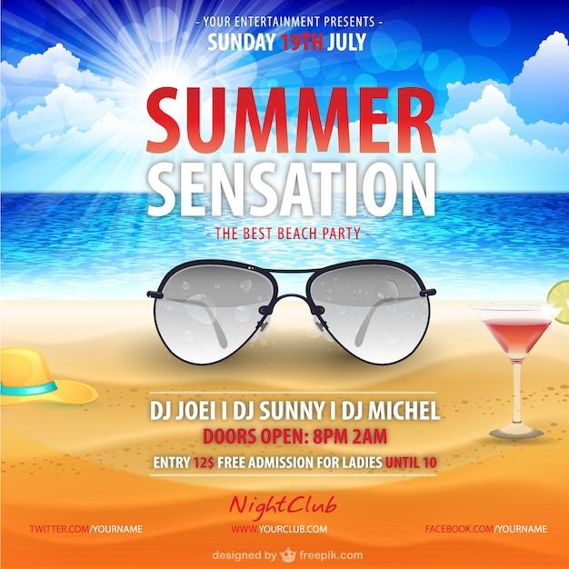 Sommer Poster Vorlage Vektor kostenloser Download | Download der ...
