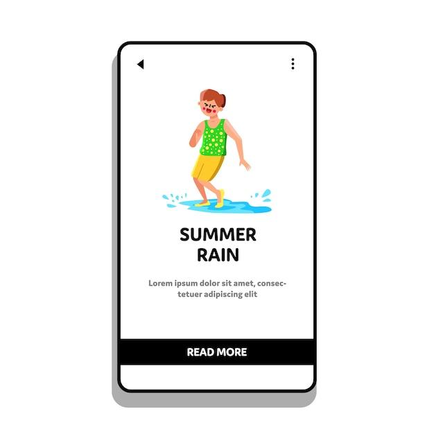 Sommer regen pfütze spielen und splashing boy Premium Vektoren