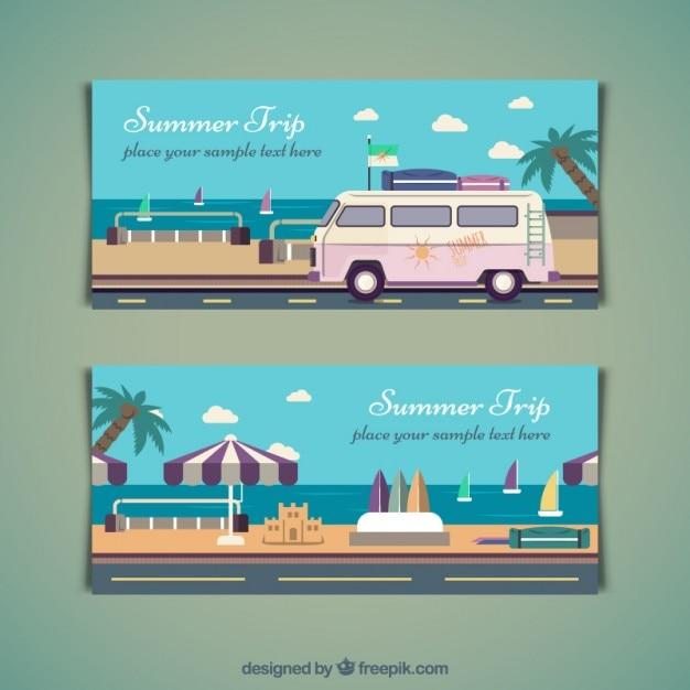 Sommer-reise-banner in flaches design Kostenlosen Vektoren