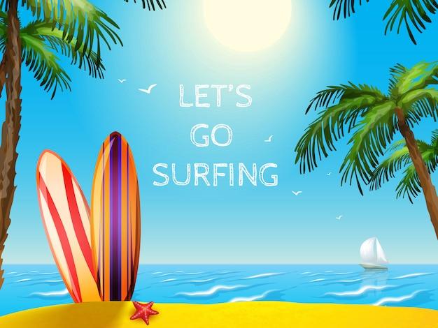 Sommer reise poster surfbretter hintergrund Kostenlosen Vektoren