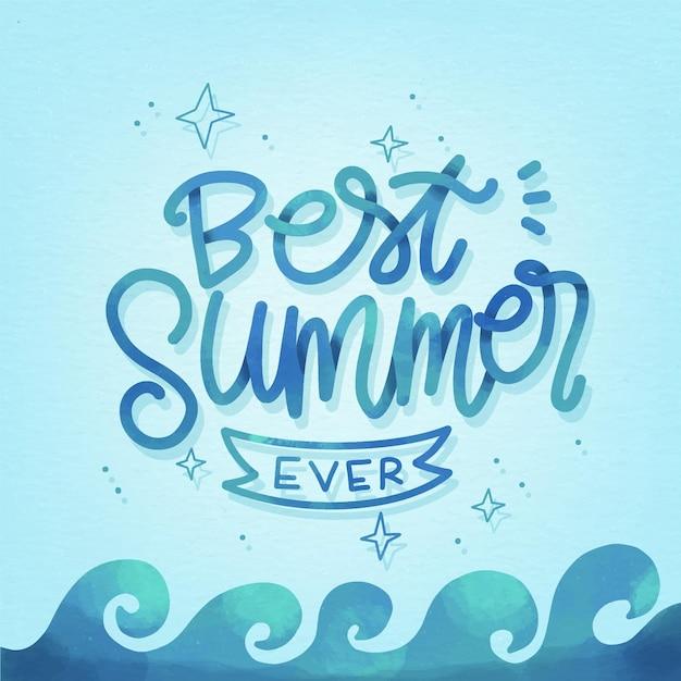 Sommer schriftzug konzept Kostenlosen Vektoren