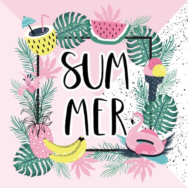 Sommer schriftzug mit flamingo und palmblättern. Premium Vektoren