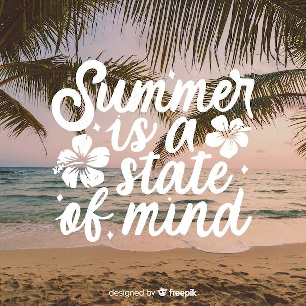 Sommer schriftzug mit foto Kostenlosen Vektoren