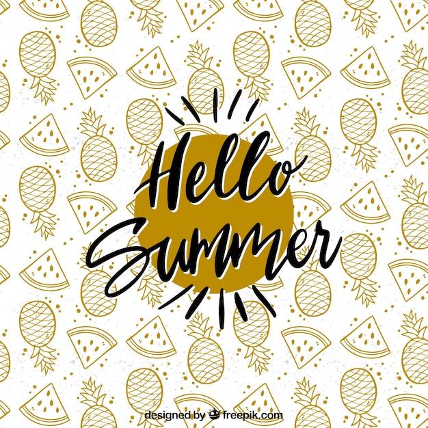 Sommer schriftzug mit schwarzer tinte Kostenlosen Vektoren