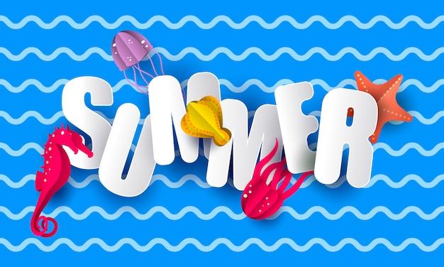 Sommer-schriftzug Premium Vektoren