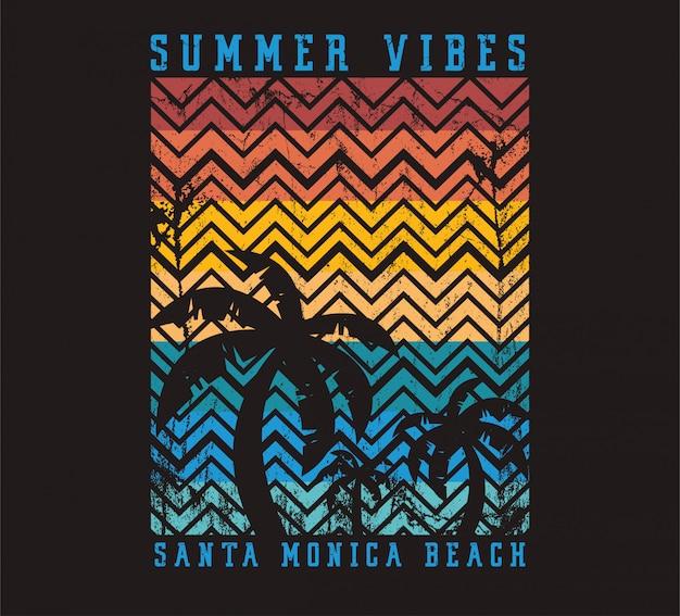 Sommer-schwingungen santa monica beach-illustration Premium Vektoren