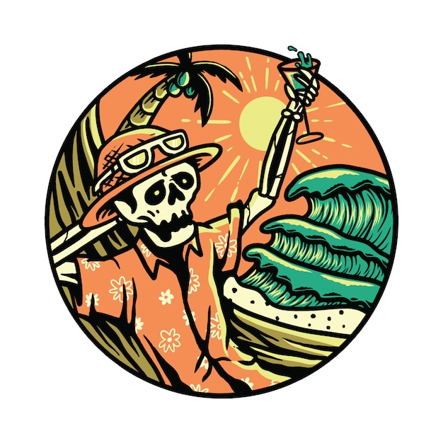 Sommer-schwingungs-skeleton grausigkeit halloween entspannen sich sommer-grafik-illustration Premium Vektoren