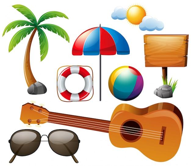 Sommer-set mit gitarre und anderen elementen Premium Vektoren