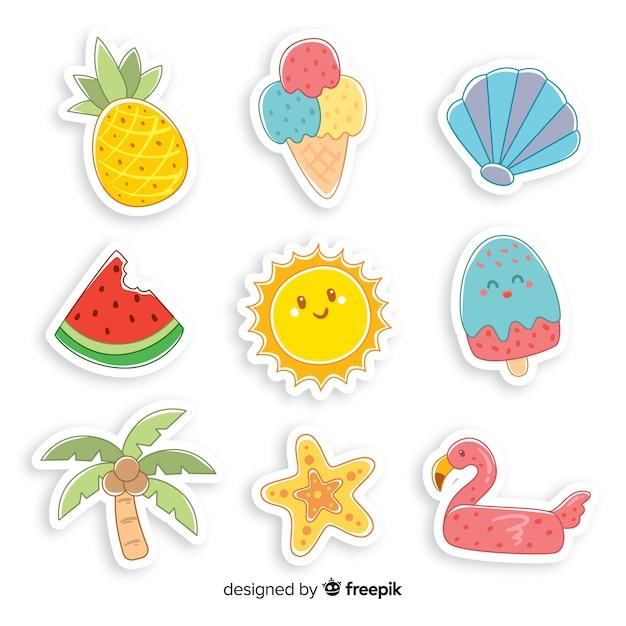 Sommer-sticker-kollektion Kostenlosen Vektoren