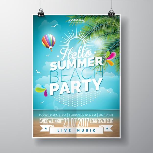 Sommer-strand-partyplakat Kostenlosen Vektoren