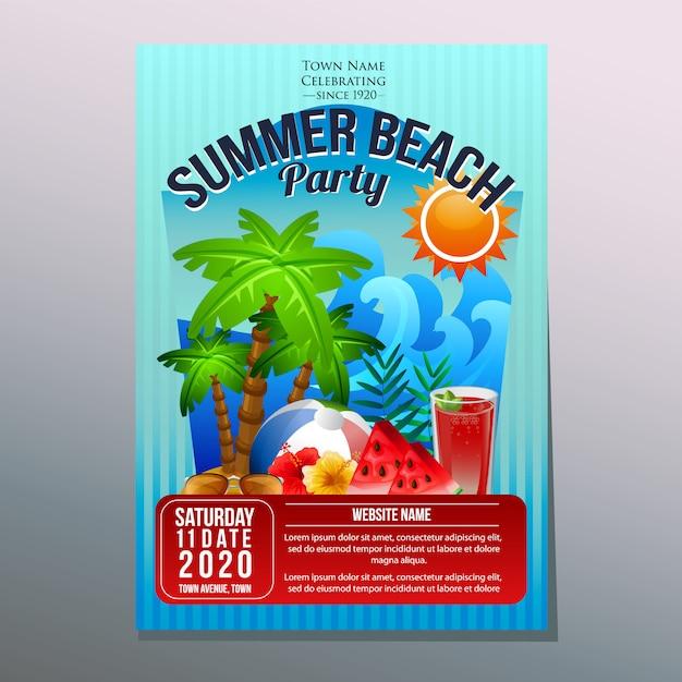 Sommer strandfest festival urlaub plakat vorlage kokosnussbaum Premium Vektoren