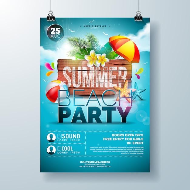 Sommer-strandfest-flieger oder plakatschablone design mit blume und palmblättern Premium Vektoren