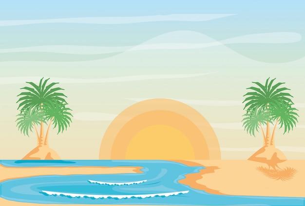 Sommer strandlandschaft Premium Vektoren