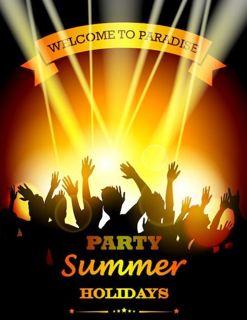 Sommer strandparty mit tanz silhouetten Premium Vektoren