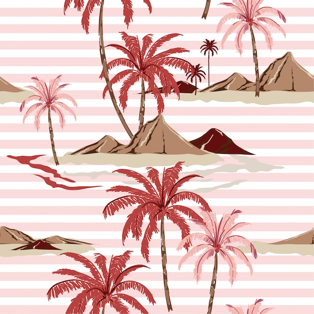 Sommer-süßes nahtloses tropeninselmuster mit hellrosa streifen Premium Vektoren