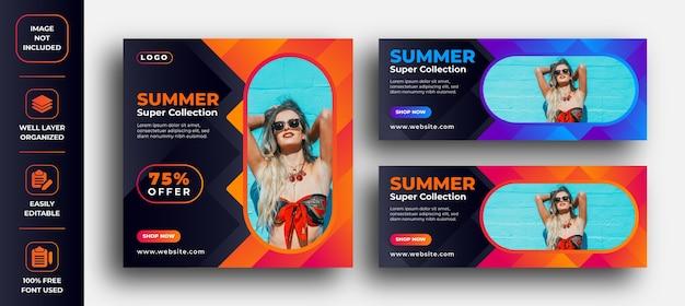 Sommer super heißer verkauf banner und facebook-anzeigen Premium Vektoren