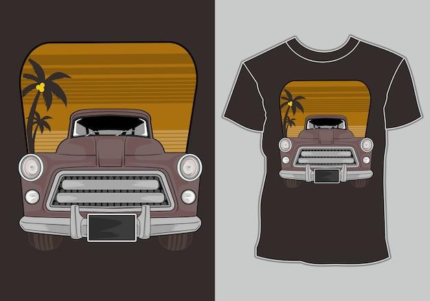 Sommer t-shirt klassiker, vintage, retro auto im strand Premium Vektoren