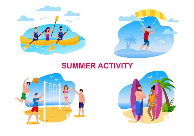 Sommer-tätigkeits-karikatur eingestellt mit stillstehenden leuten. Premium Vektoren