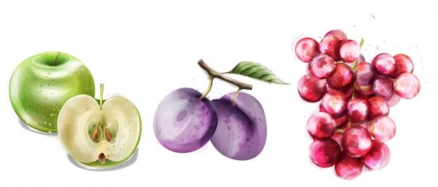 Sommer trägt vektoraquarell-mustersammlung früchte Premium Vektoren