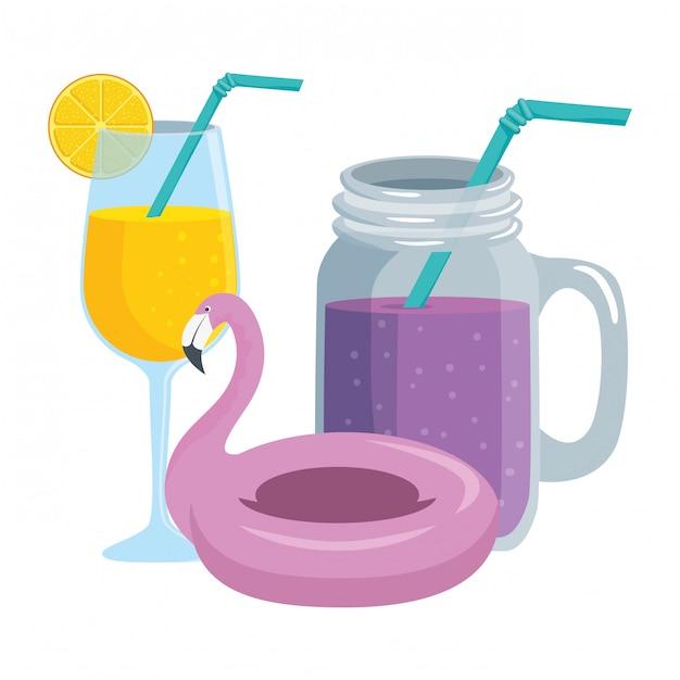 Sommer tropische cocktails und flämische float Premium Vektoren