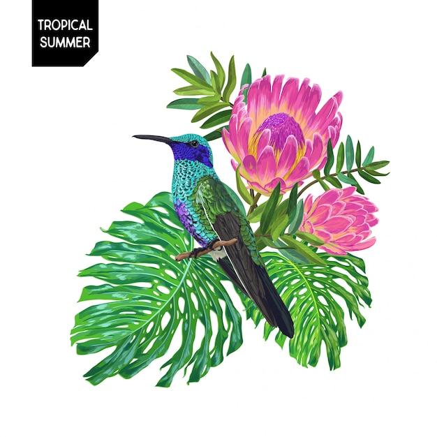 Sommer-tropischer entwurf mit kolibri und blumen Premium Vektoren