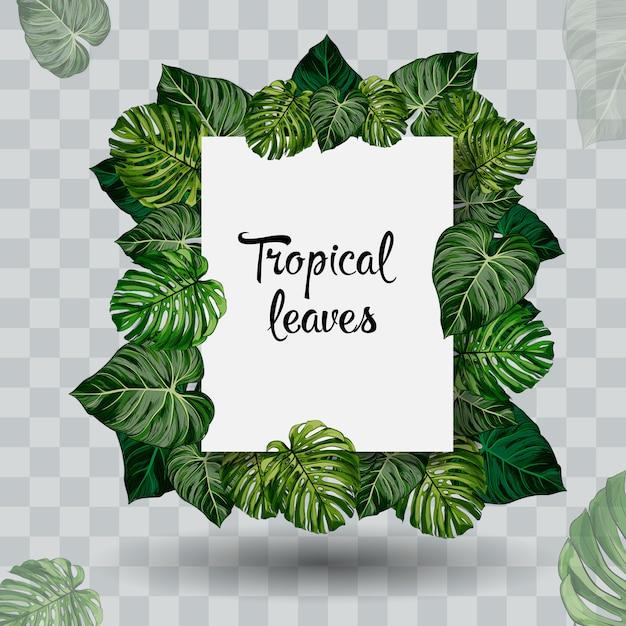 Sommer tropisches blatt. papierschnitt-stil. Premium Vektoren