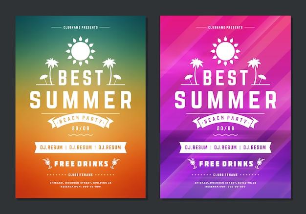 Sommer typ party design poster oder flyer nachtclub event moderne typografie Premium Vektoren