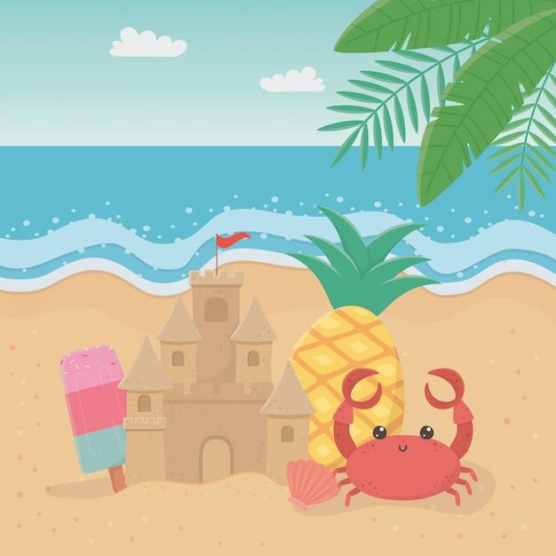 Sommer- und ferienillustrationsdesign Premium Vektoren