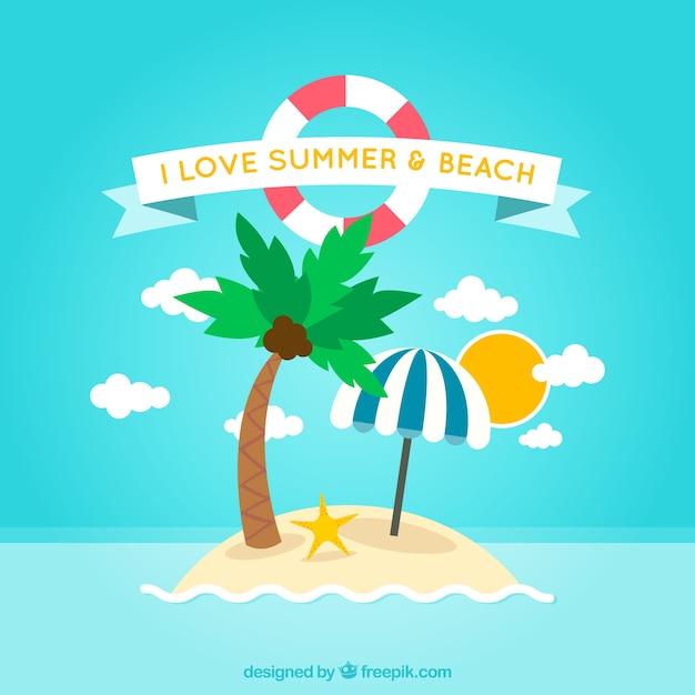 Sommer und strand hintergrund Kostenlosen Vektoren