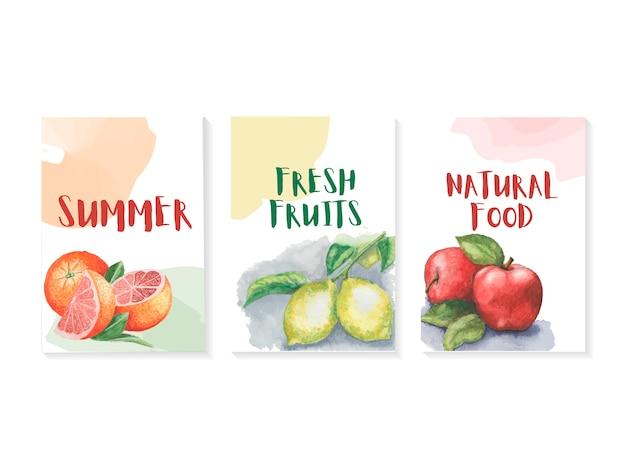 Sommer-vorlage mit aquarellen früchten gesetzt Premium Vektoren